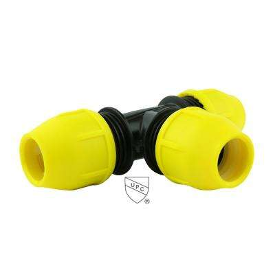 2 in. x 2 in. x 2 in. Underground Yellow Poly Gas Pipe Tee