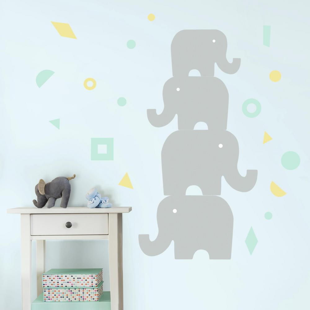 5 in. x 19 in. DwellStudio Elephant 23-Piece Peel and Stick