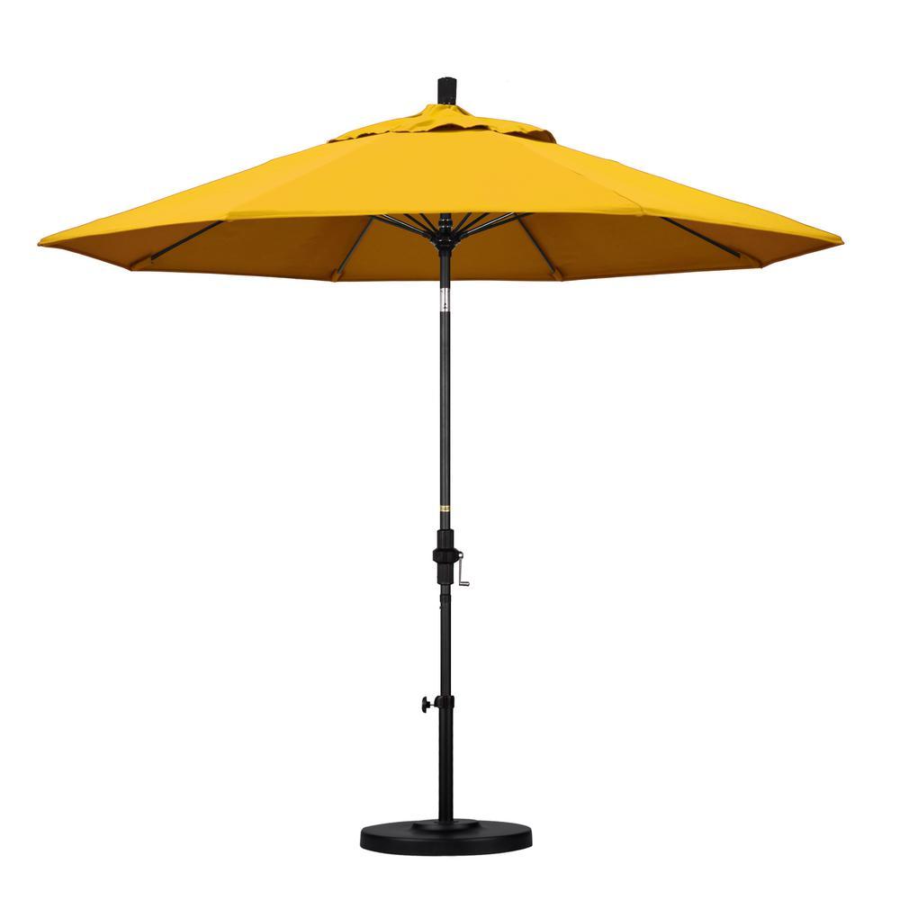 California Umbrella 9 ft. Fiberglass Collar Tilt Patio Umbrella in Yellow Pacifica