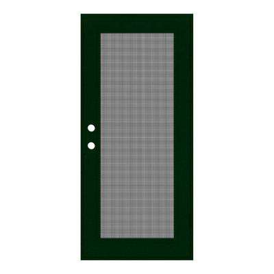 30 in. x 80 in. Full View Forest Green Right-Hand Surface Mount Security Door with Meshtec Screen