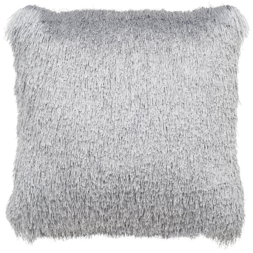 Soleil Silver Shag Square Outdoor Throw Pillow