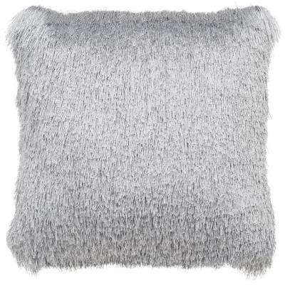 Soleil Silver Shag Square Outdoor Throw Pillow