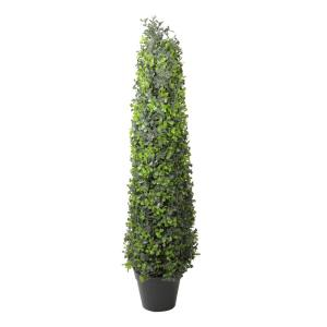 36 in. Potted Artificial 2-Tone Boxwood Topiary Tree