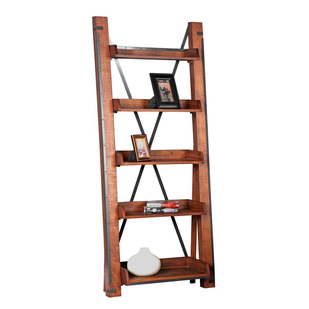 81 in. Hewn Pallet Wood 5-shelf Ladder Bookcase