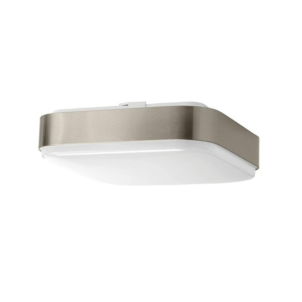 Hampton Bay Ceiling Light Fixtures: Hampton Bay 11 In. Brushed Nickel Bright White Square LED
