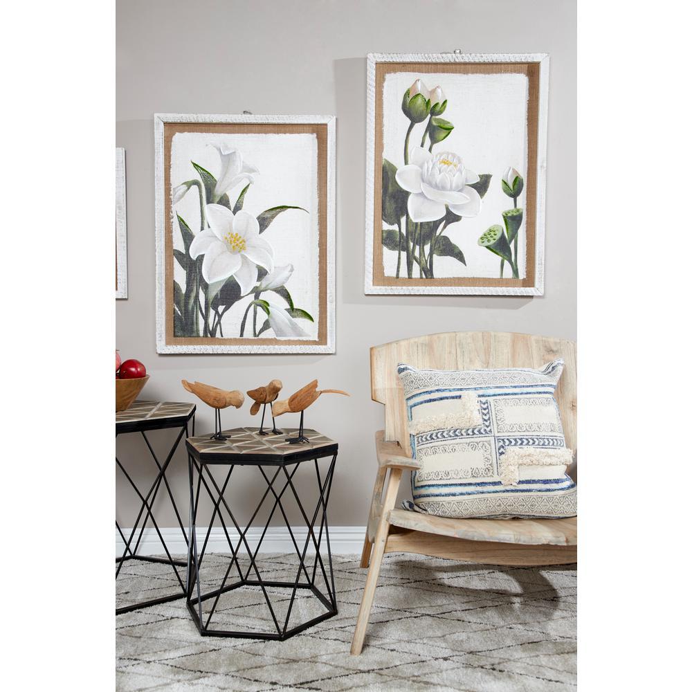 Litton Lane Large White Flowers Framed Wall Art Set Of 2 89390
