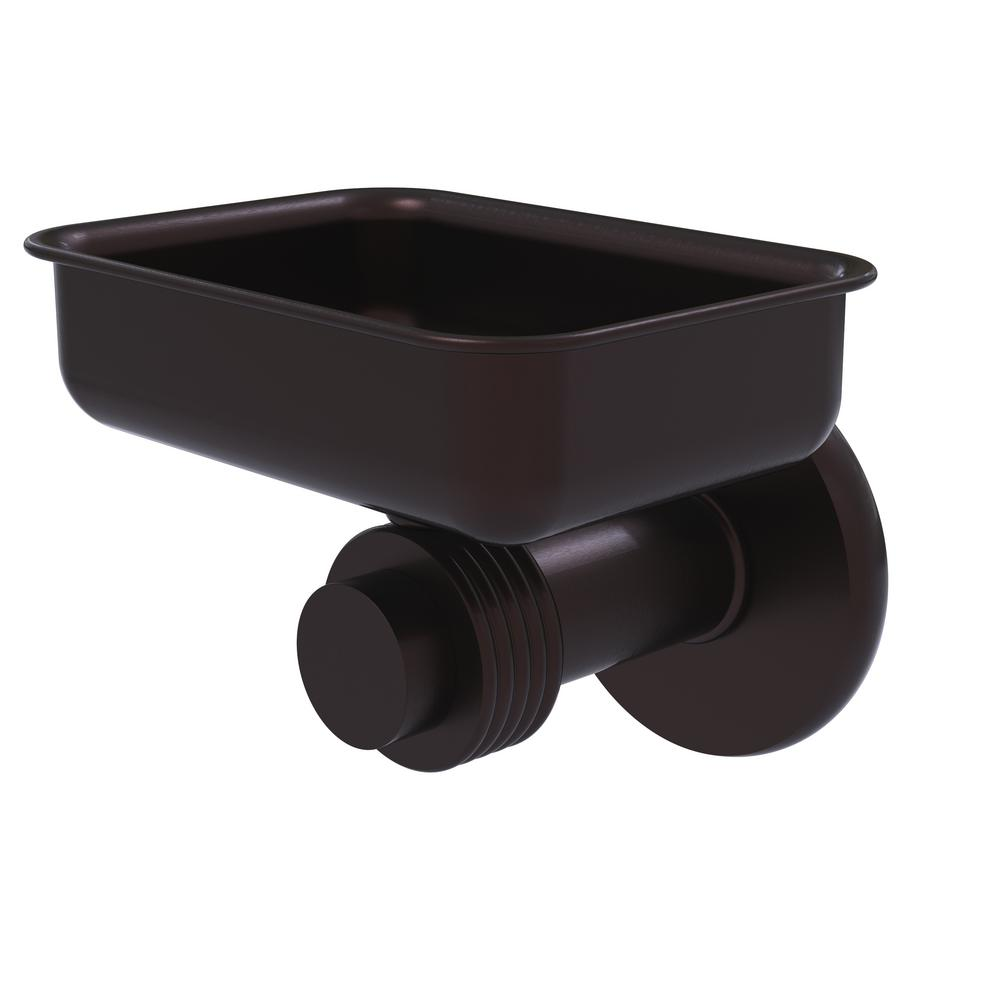 Allied Brass Mercury Collection Wall Mounted Soap Dish with Groovy Accents in Antique Bronze