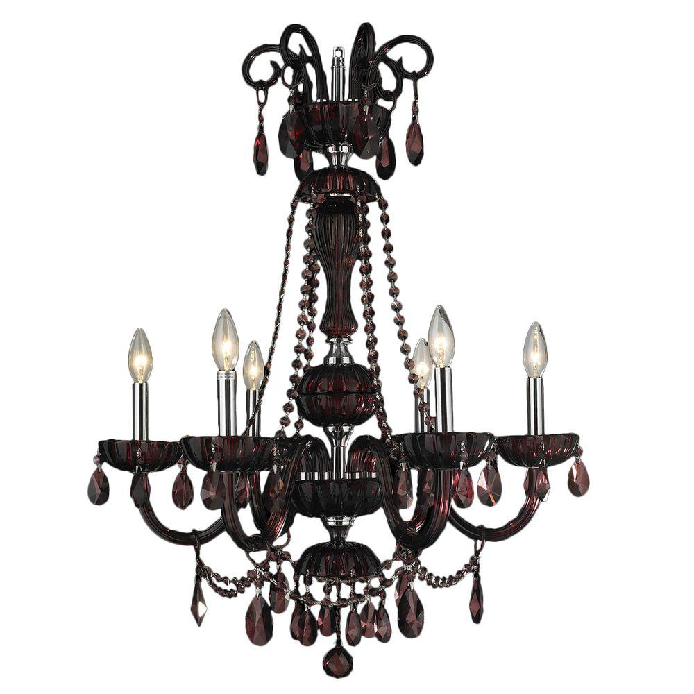 Carnivale 6-Light Polished Chrome and Cranberry Red Crystal Chandelier