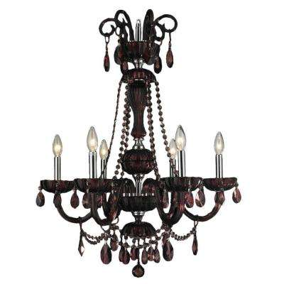 Candle style red chandeliers lighting the home depot carnivale 6 light polished chrome and cranberry red crystal chandelier aloadofball Choice Image