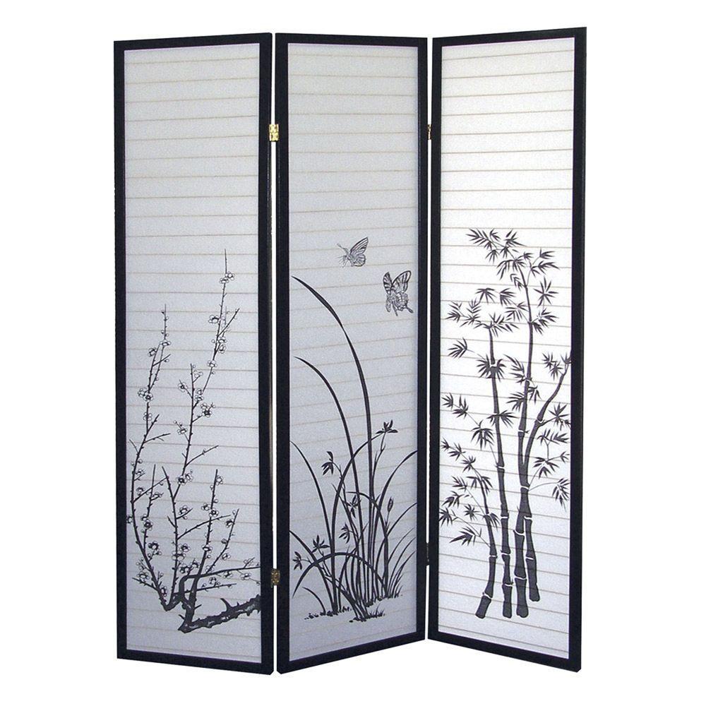 Home Decorators Collection 5.83 ft. Black 3-Panel Room Divider
