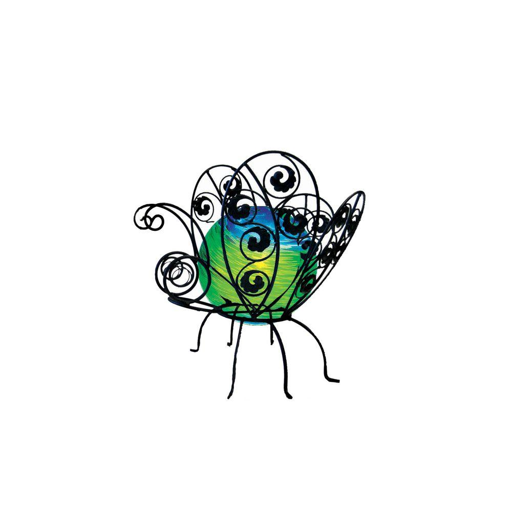 null 12 in. Solar Glass Wire Critter Butterfly with Green-Blue Swirl and Green Light