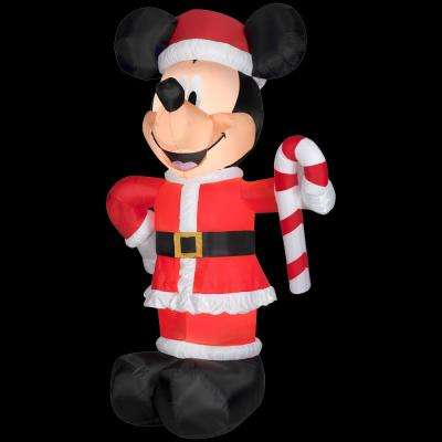 6 ft. W x 10 ft. H Inflatable Disney Santa Mickey with Candy Cane