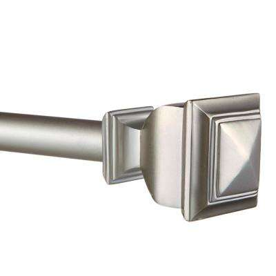 66 in. - 120 in.Adjustable Length 1 in. Dia Curtain Rod Kit in Matte Silver with Napoleon Finial