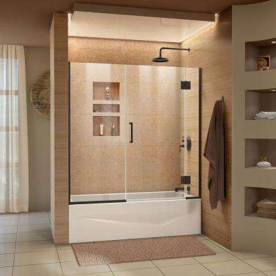 Unidoor-X 58.5 in. W x 58 in. H Frameless Hinged Tub Door in Oil Rubbed Bronze