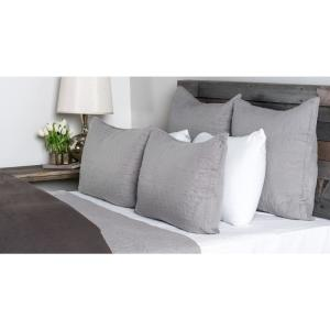 Cressida 20 in. x 26 in. Lt Gray Linen Quilted Standard Sham