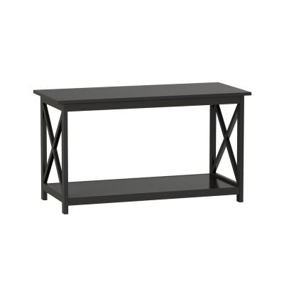 40 in. Gray Medium Rectangle Wood Coffee Table with Shelf