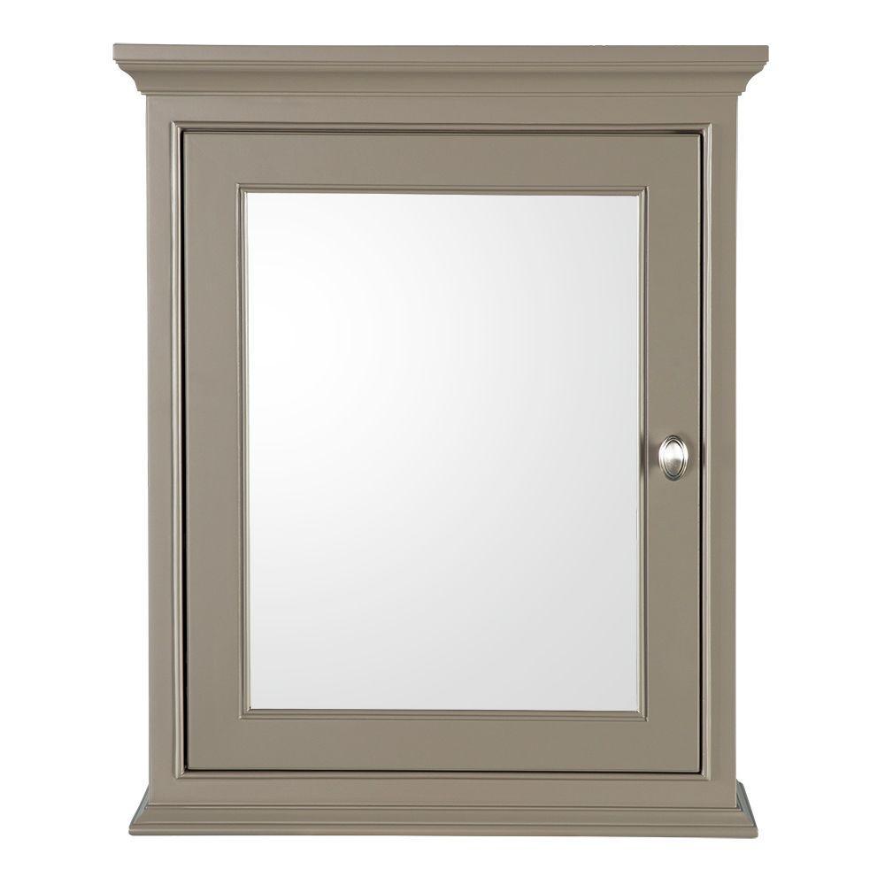 Hayward 23-1/2 in. W x 29 in. H x 7-1/2 in. D Framed Surface-Mount Bathroom Medicine Cabinet in Warm Grey