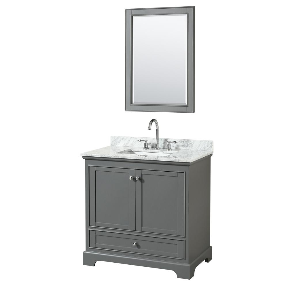 Wyndham Collection 36 In. W X 22 In. D Vanity In Dark Gray