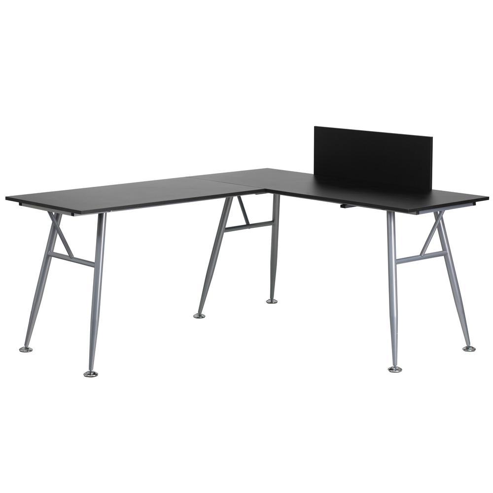 Black Laminate L-Shape Computer Desk with Silver Frame Finish