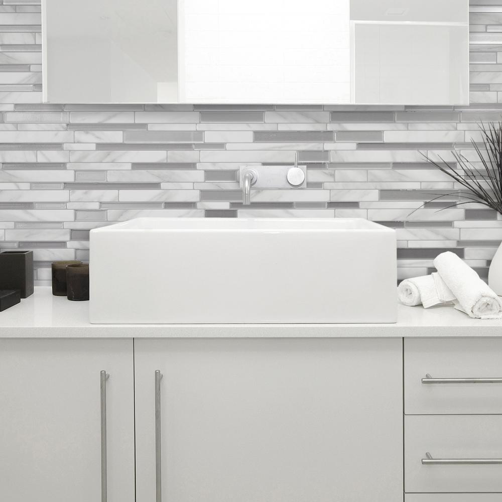 Milano Carrera Grey 11.55 in. W x 9.65 in. H Peel and Stick Self-Adhesive Decorative Mosaic Wall Tile Backsplash