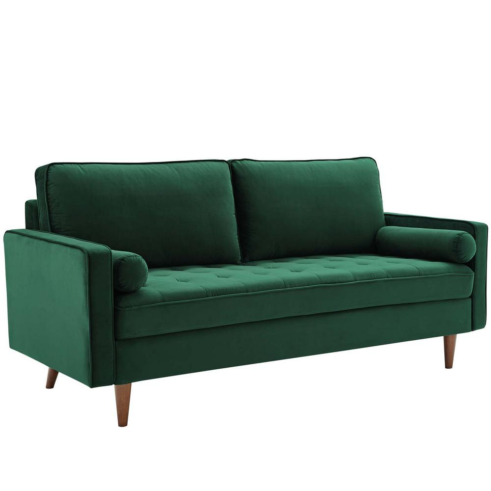 Modway Valour 73 In Green Velvet 3 Seater Tuxedo Sofa With Square Arms Eei 3764 Grn The Home Depot