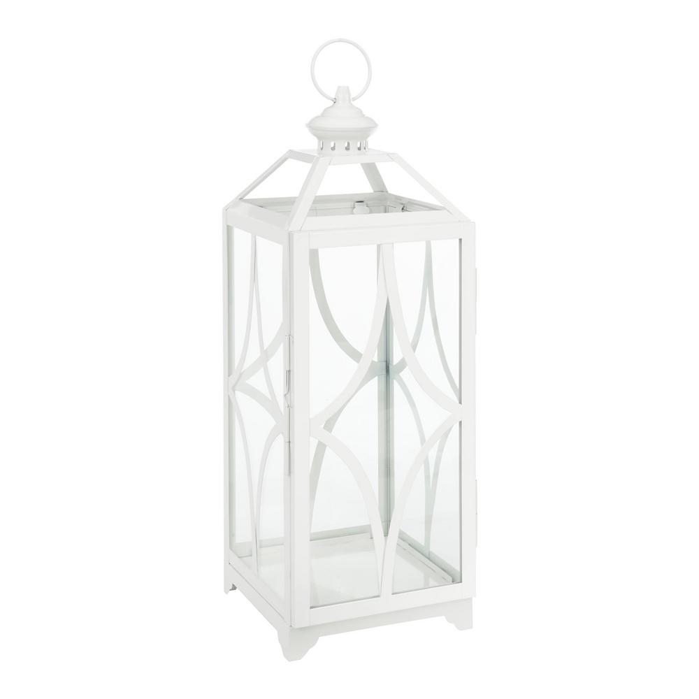 22 in. White Metal and Glass Outdoor Patio Lantern