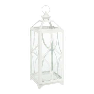 22 in. Metal and Glass Lantern in White