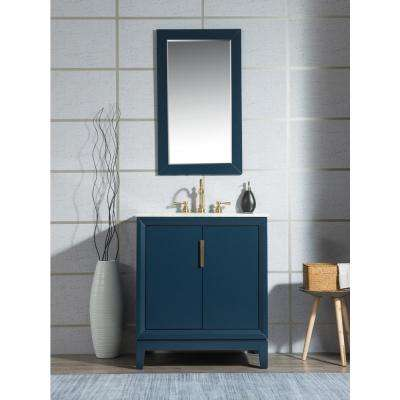 30 in. Bath Vanity in Monarch Blue w/ Carrara White Marble Vanity Top w/ Ceramics White Basins and Mirror and Faucet