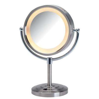 8.5 in. Dia 5X-1X Halo Lighted Table Top Makeup Mirror in Nickel