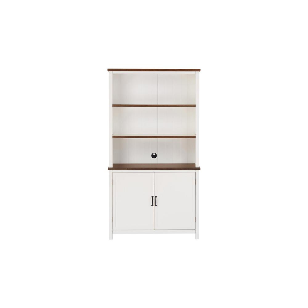 Appleton White and Haze Finish Wood Bookcase with Concealed Storage (39 in. W x 72 in. H)