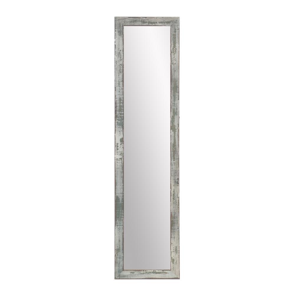 Oversized Brown/Green/Gray Wood Coastal Farmhouse Industrial Rustic Mirror (69.5 in. H X 14.5 in. W)