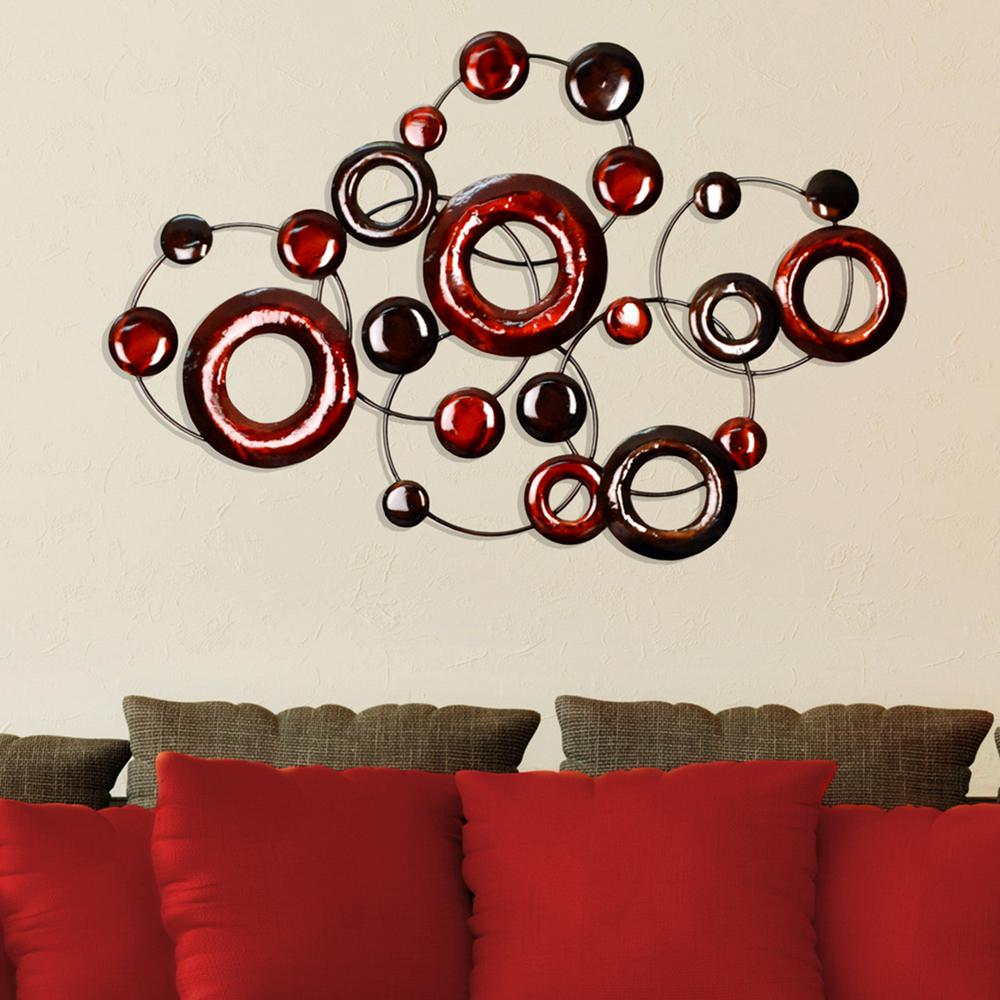 Stratton Home Decor Red Metallic Circles Decorative Mirror Wall