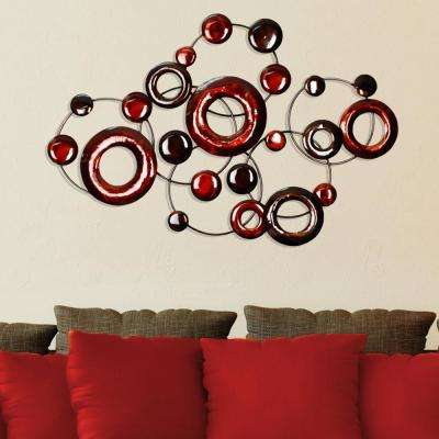 Marvelous Red Metallic Circles Decorative Mirror Wall Decor