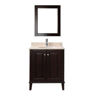 Lily 30 in. Vanity in Chai with Marble Vanity Top in Chai and Mirror