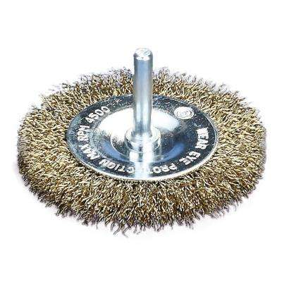 3 in. x 1/4 in. Shank Crimped Brass Coated Steel Wire Wheel Brush