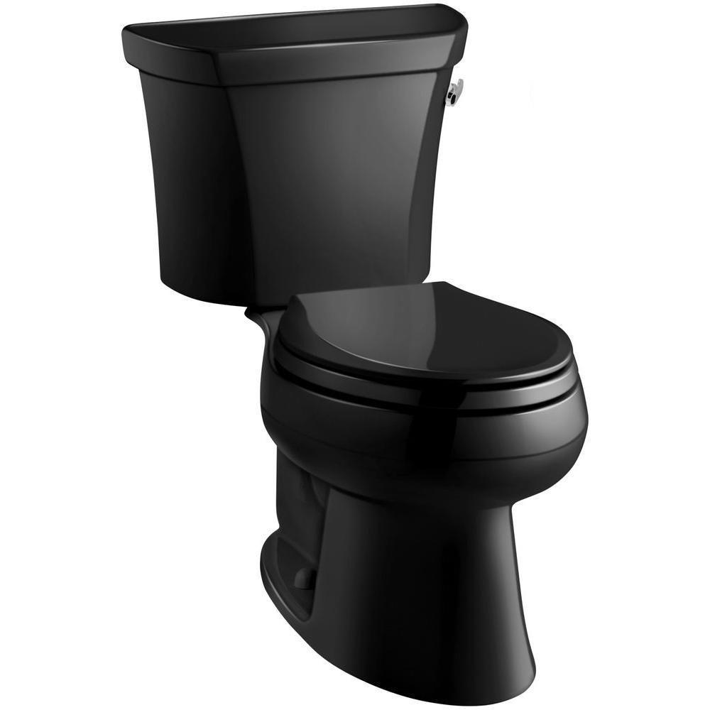 Wellworth 2-piece 1.6 GPF Single Flush Elongated Toilet in Black Black