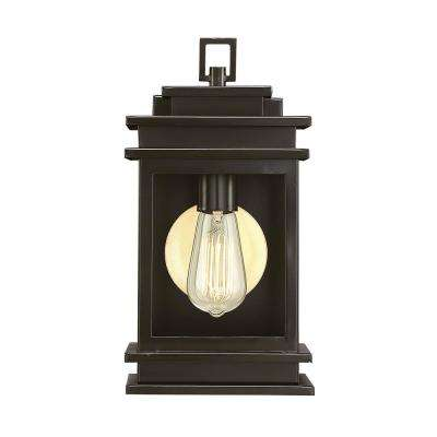 1-Light English Bronze Outdoor Wall Mount Sconce with Clear Glass