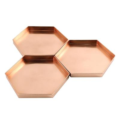 9 in. W x 1 in. H x 8 in. D Hexagonal Copper Plated Stainless Steel Decorative Trays (Set of 3)