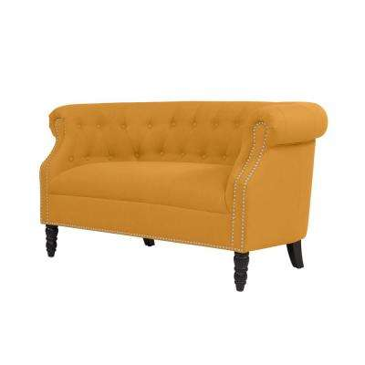 Millstreet Chesterfield Mustard Yellow Linen Loveseat