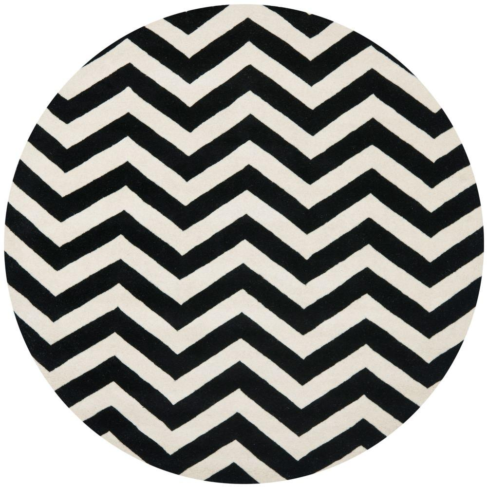 Safavieh Chatham Ivory Black 5 Ft X 5 Ft Round Area Rug Cht715a 5r