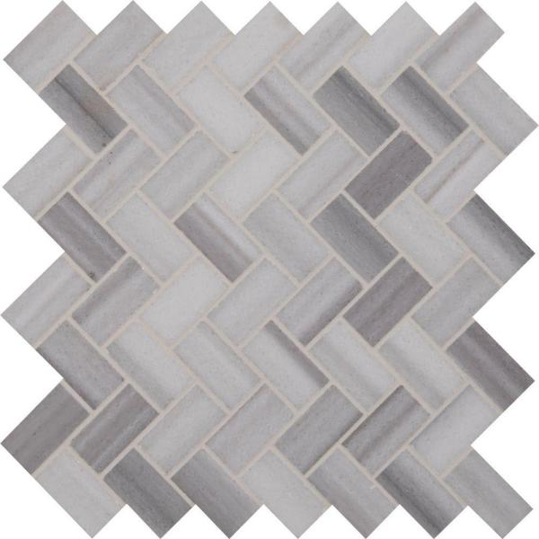Bergamo Herringbone 12 in. x 12 in. x 10 mm Polished Marble Mesh-Mounted Mosaic Floor and Wall Tile (1 sq. ft.)