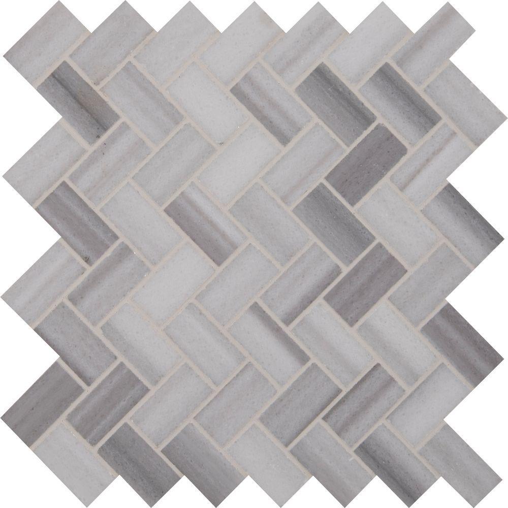 Msi Bergamo Herringbone 12 In X 10mm Polished Marble Mesh