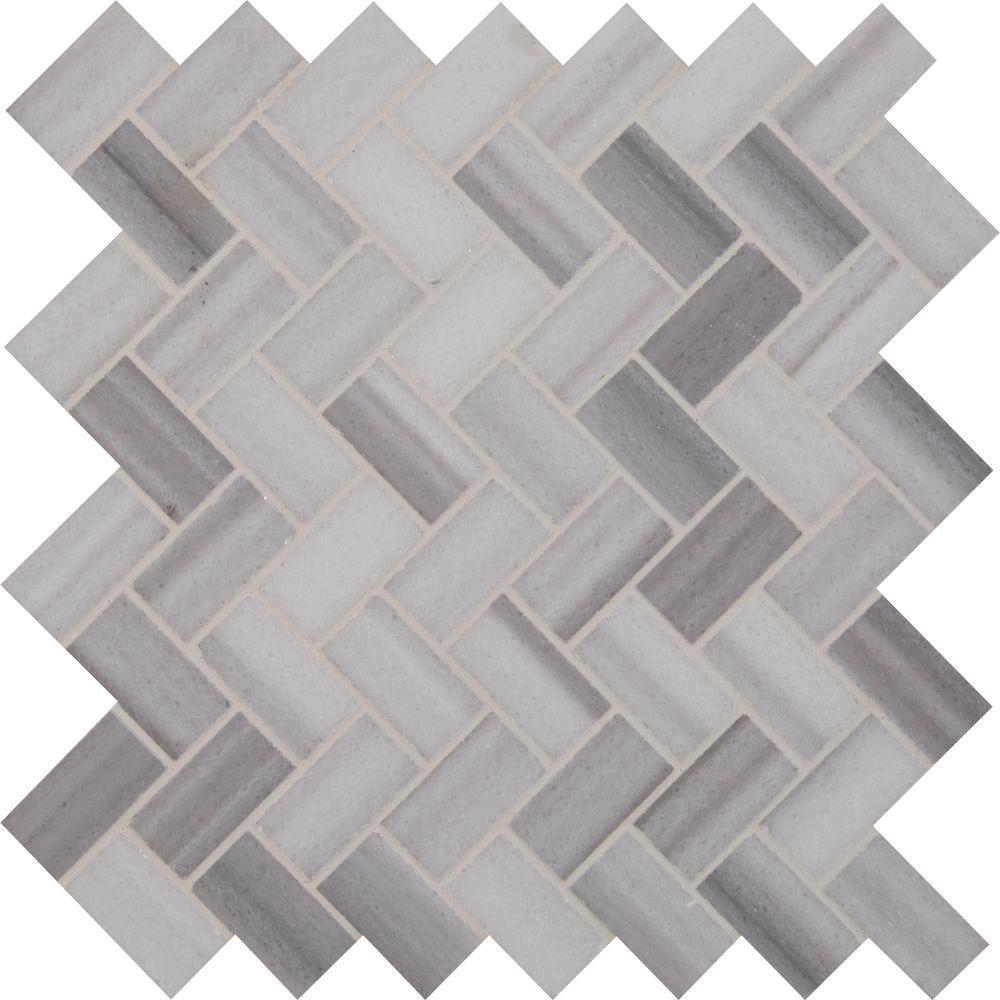 Ms International Bergamo Herringbone 12 In X 10 Mm Polished Marble Mesh Mounted Mosaic Floor And Wall Tile Hb The Home Depot