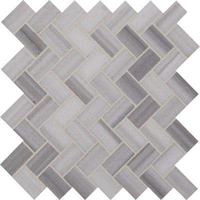 Bergamo Herringbone 12 in. x 12 in. x 10 mm Polished Marble Mesh-Mounted Mosaic Tile (10 sq. ft. / case)