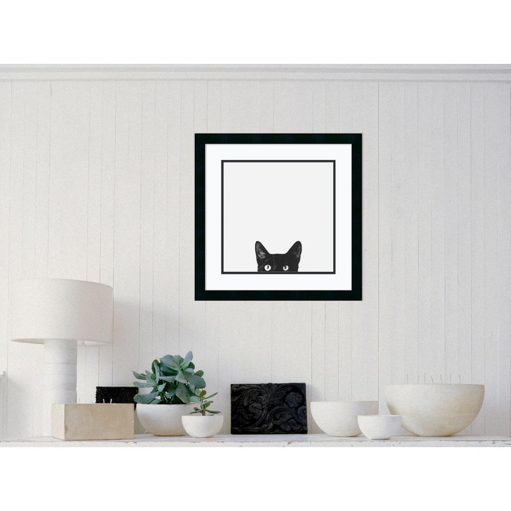 """22 in. W x 22 in. H """"Curiosity (Cat)"""" by Jon Bertelli Framed Art Print"""