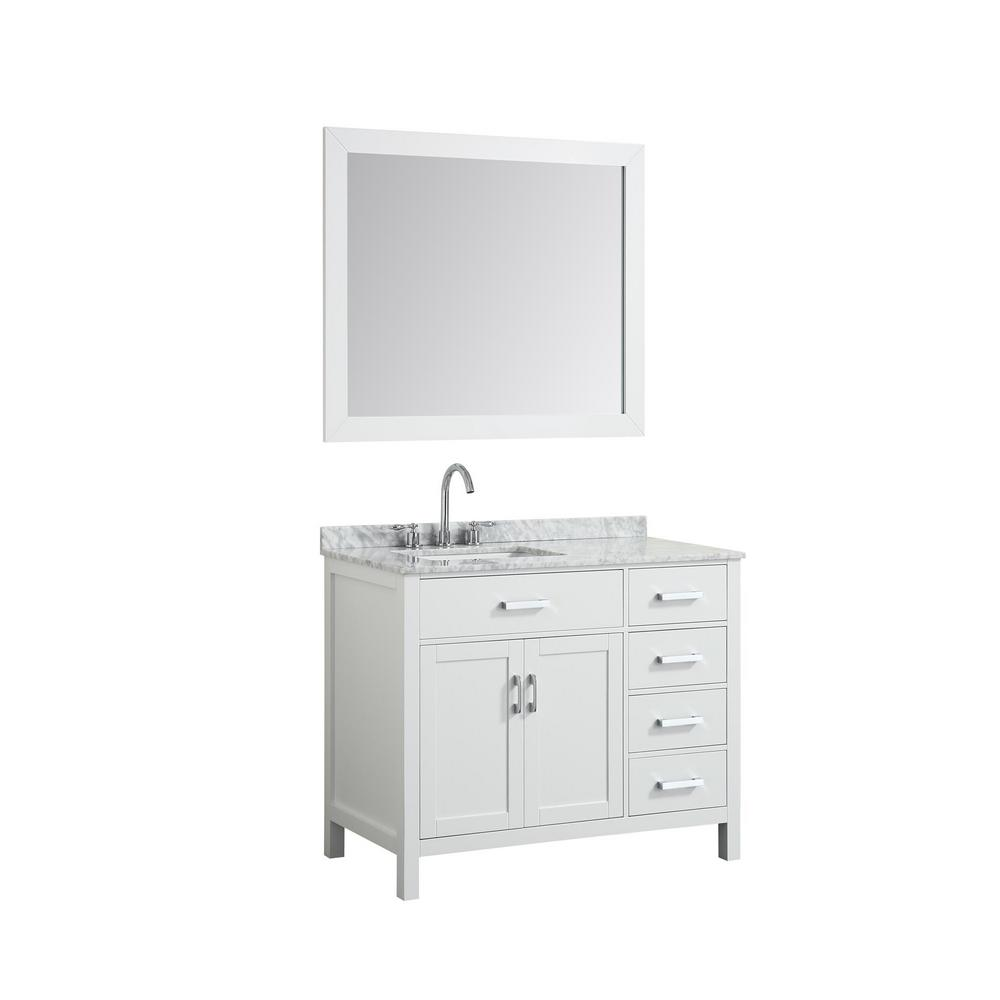 Hampton 43 in. Bath Vanity in White with Marble Vanity Top