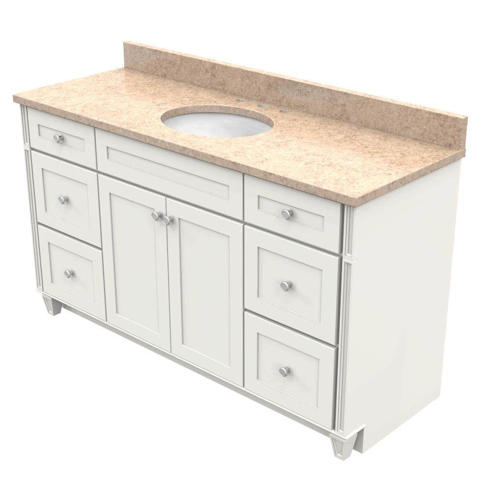 KraftMaid 60 In. Vanity In Dove White With Natural Quartz Vanity Top In  Khaki Cream