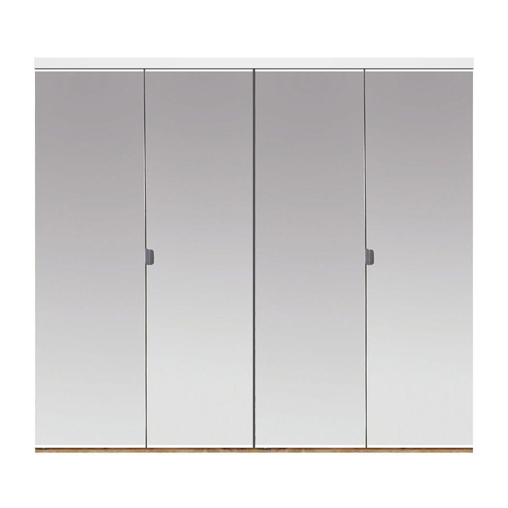 72 in. x 80 in. Beveled Edge Mirror Solid Core MDF Interior Closet Bi-Fold Door with White Trim
