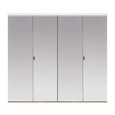 60 in. x 80 in. Polished Edge Mirror Solid Core MDF Interior Closet Bi-Fold Door with White Trim