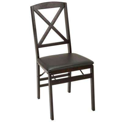 Espresso Vinyl Seat Folding Chair (Set of 2)